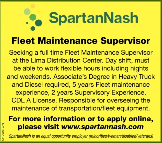 Fleet Maintenance Supervisor
