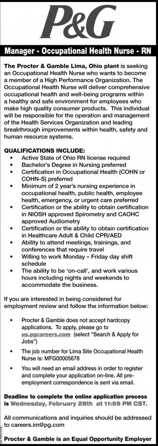 Manager - Occupational Health Nurse - RN