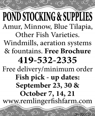 Pond Stockings And Supplies Remlinger Fish Farm