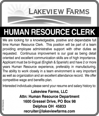 Human Resource Clerk