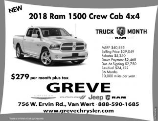 New 2018 Ram 1500 Crew Cab 4x4