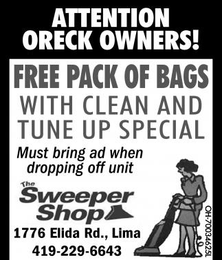 Oreck Owners: Free Pack of Bags