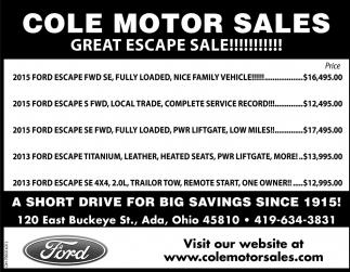 Great escape sale!!