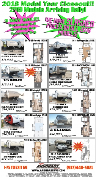 2018 Mpdel Year Closeout! 2019 Models Arriving Daily!