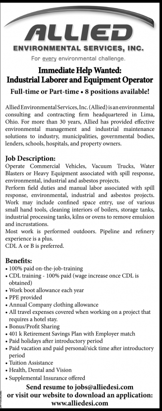 Industrial Laborer and Equipment Operator