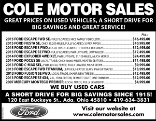 A short drive for big savings since 1915