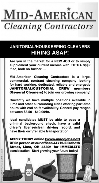 Janitorial/Housekeeping Cleaners