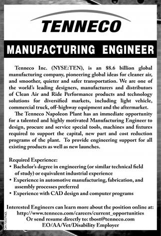 Manufacturing Engineer