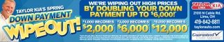 Spring Down Payment Wipeout!