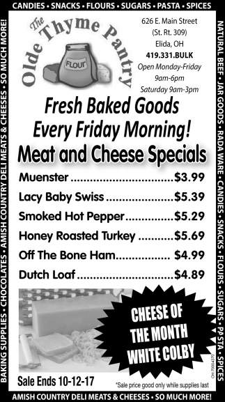 Fresh baked goods every friday morning!