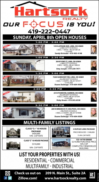 Sunday, April 8th Open Houses