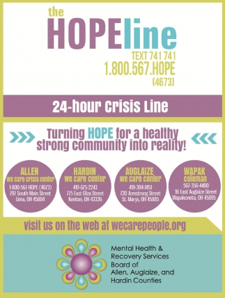 The Hope Line, 24 hour crisis line