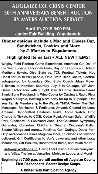 Auglaize Co. Crisis Center 30th Anniversary Benefit Auction