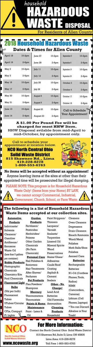 2018 Household Hazardous Waste