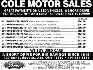 Big savings since 1915