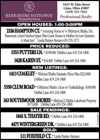Open Houses, New Listings