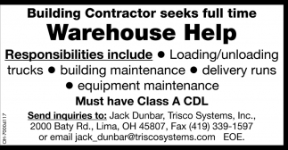 Full time warehouse help