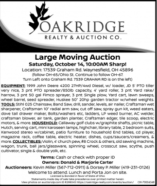 Large moving auction!