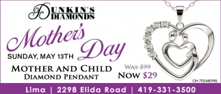 Mother and Child Diamond Pendant Now $29