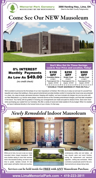 Come See Our New Mausoleum
