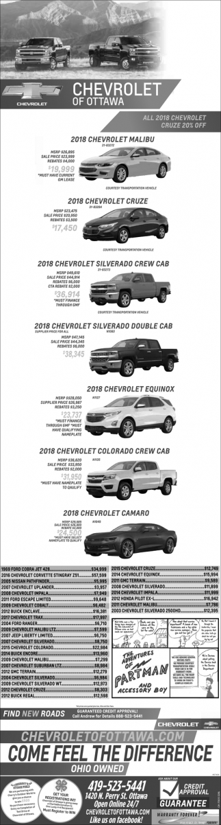 All 2018 Chevrolet Malibu and Cruze 20% off