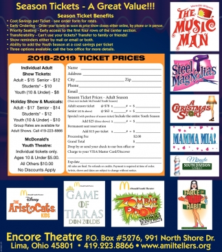 2018-2019 Ticket Prices