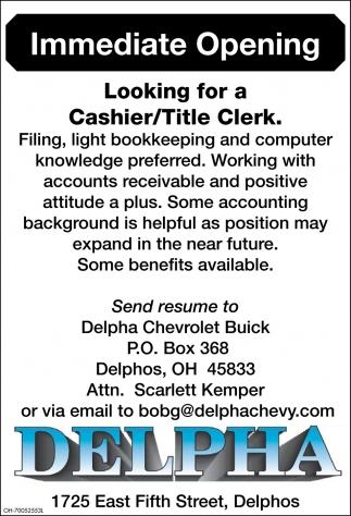 Cashier/Title Clerk