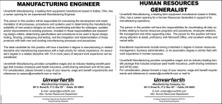 Manufacturing Engineer / Human Resources Generalist