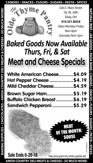 Baked Goods, Meat and Cheese Specials