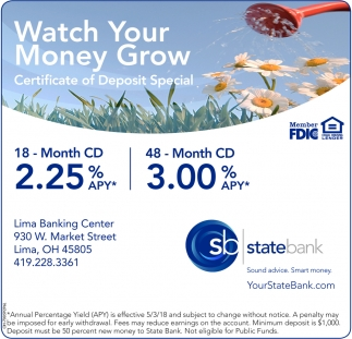 Certificate Of Deposit Special State Bank Lima Oh