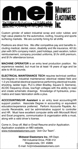 Machine Operators, Electrical Maintenance, Accounting, Midwest ...