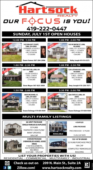Sunday, July 1st Open Houses