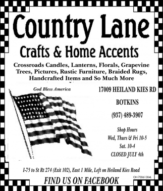 Candles, Lanterns, Florals, Pictures, Furniture, Country Lane Crafts And  Home Accents, Botkins, OH