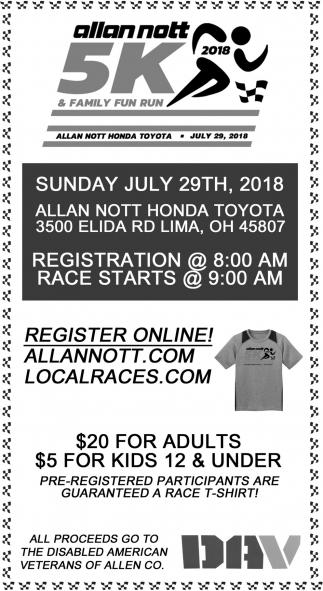 Allan Nott Honda >> 5k Family Fun Run Allan Nott Honda Toyota Lima Oh
