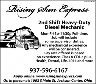 Heavy Duty Diesel Mechanic