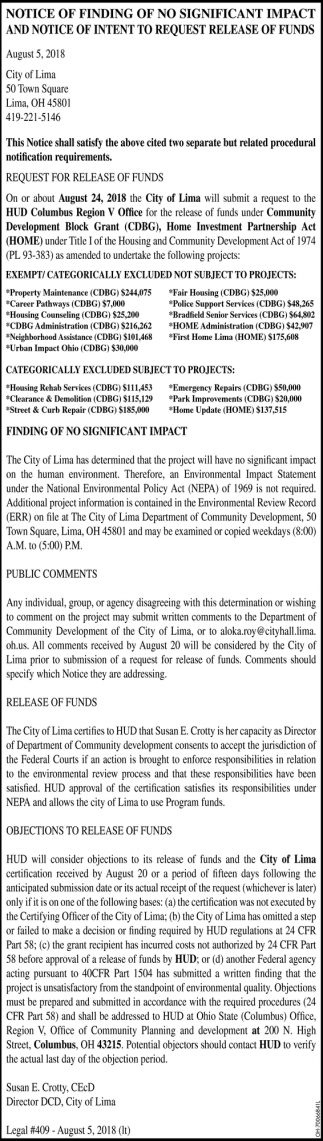 Notice of finding of no significant impact
