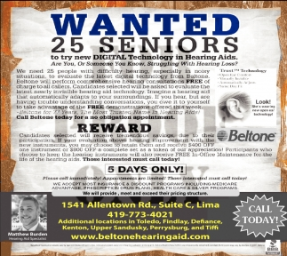 WANTED 25 seniors - REWARD