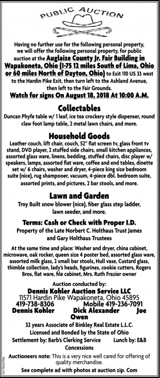 Collectables, Household Goods, Lawn, Garden