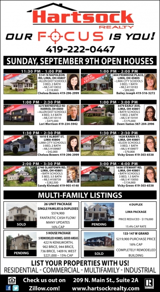 Sunday, September 9th Open Houses