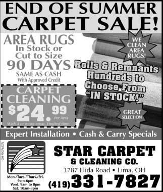 End of Summer Carpet Sale!