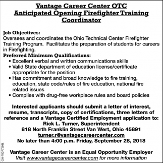 Firefighter Training Coordinator