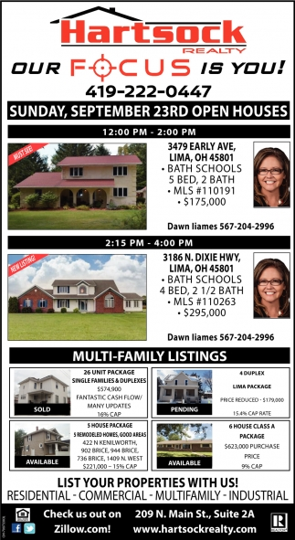 Sunday, September 23rd Open Houses