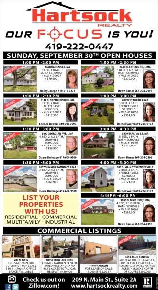 Sunday, September 30th Open Houses