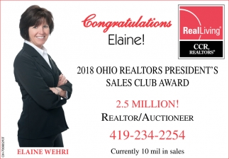 2018 Ohio Realtors President's Sales Club Award
