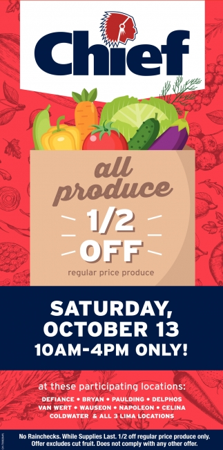All Produce 1/2 off
