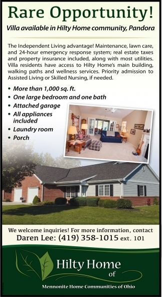 Villa available in Hilty Home community, Pandora