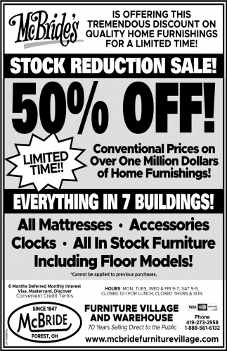 Stock Reduction Sale! 50% off!