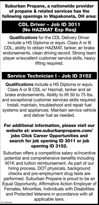 CDL Driver, Service Technician
