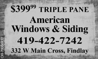 $399,99 Triple Pane