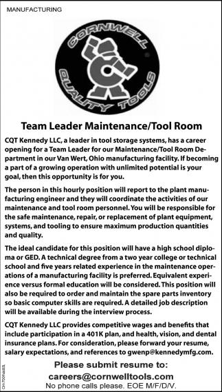 Team Leader Maintenance / Tool Room
